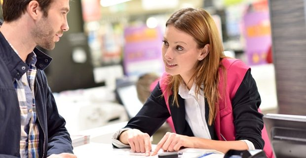 customer service job, woman serving in a customer service role