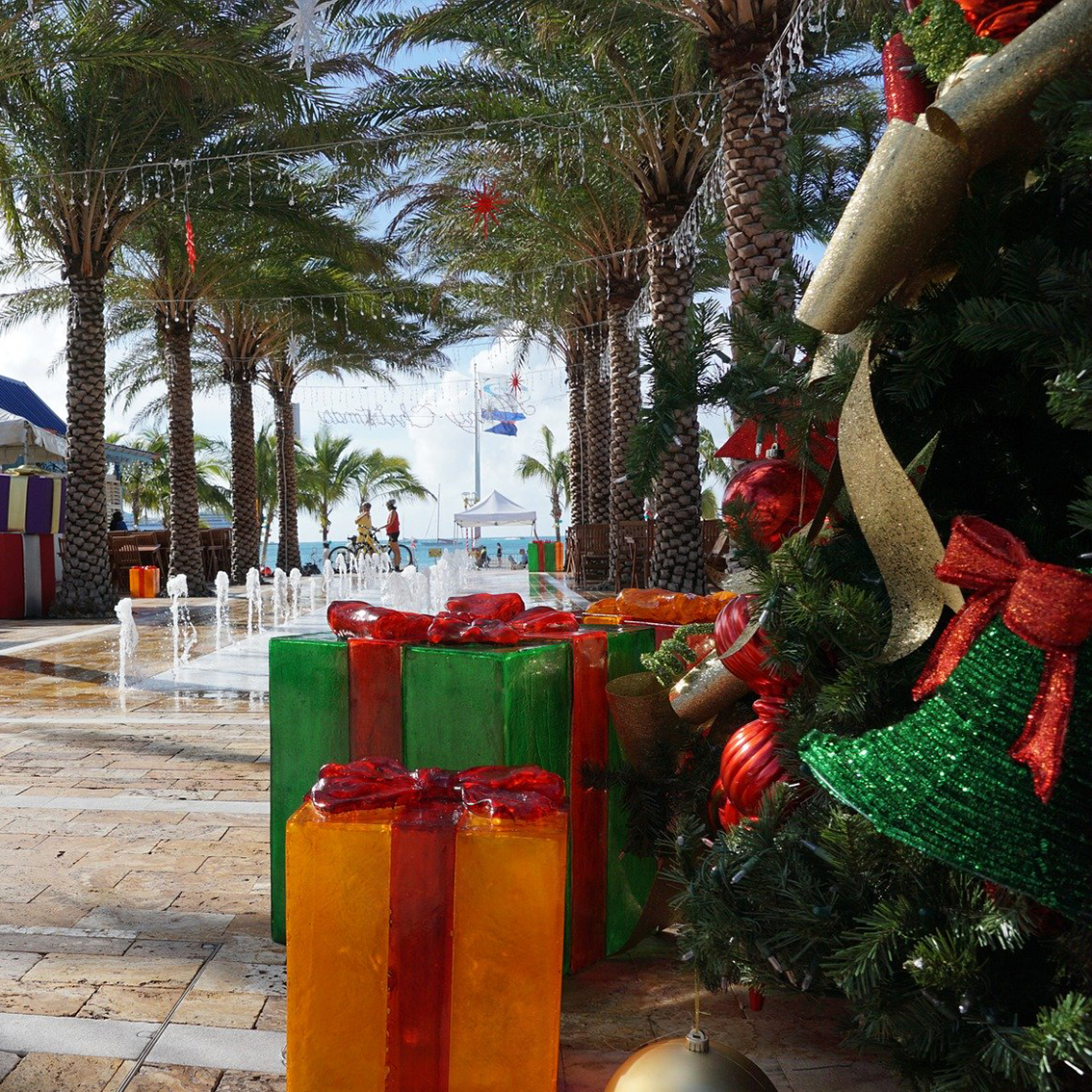 Christmas decorations and palm trees